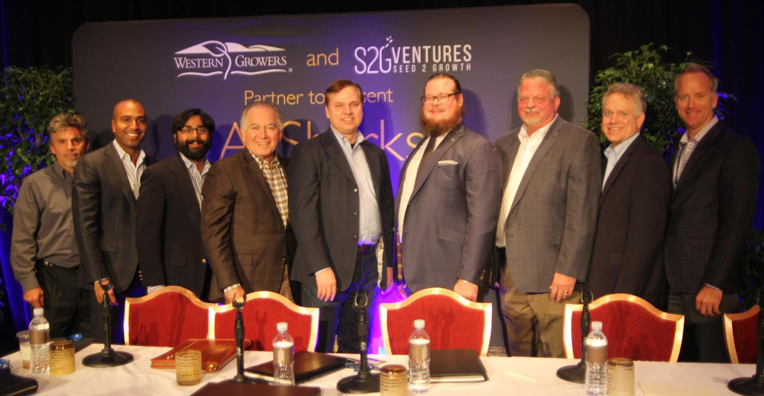 (left to right) Chuck Templeton, Managing Director at S2G Ventures; Matthew Walker, Principal at S2G Ventures; Sanjeev Krishnan, Managing Director and CIO at S2G Ventures; Tom Nassif, President & CEO at Western Growers; Bruce Rasa, CEO at AgVoice; Aidan M